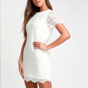 Lulus white lace short sleeve mini shift dress